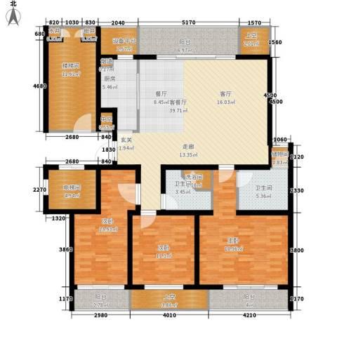 明德景园大厦3室1厅2卫1厨202.00㎡户型图