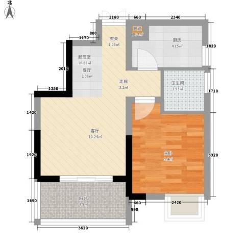 曼哈顿广场1室0厅1卫1厨43.00㎡户型图