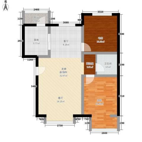 万城华府2室0厅1卫1厨98.00㎡户型图