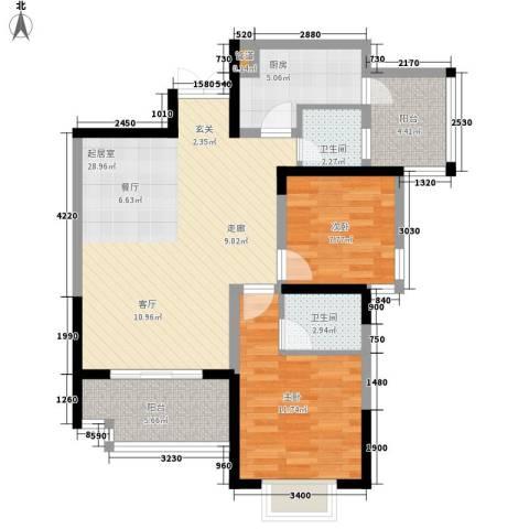 曼哈顿广场2室0厅2卫1厨74.00㎡户型图