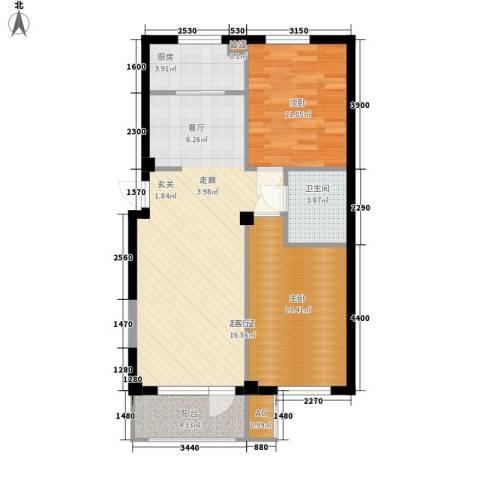 富虹太子城2室0厅1卫1厨93.00㎡户型图