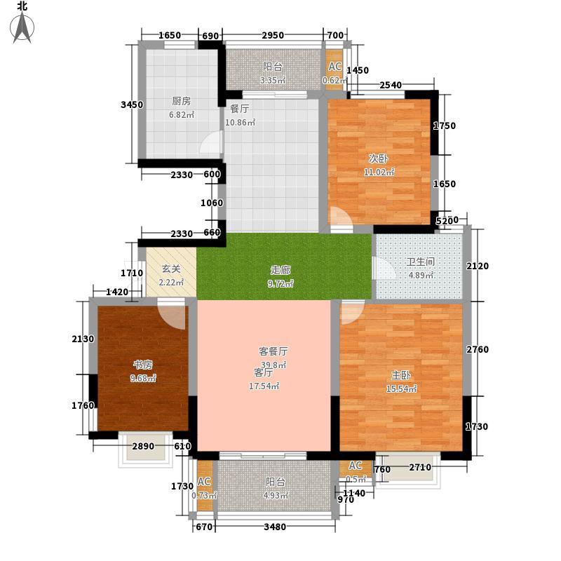 天澜湾111.93㎡26#楼标准层中间B户型