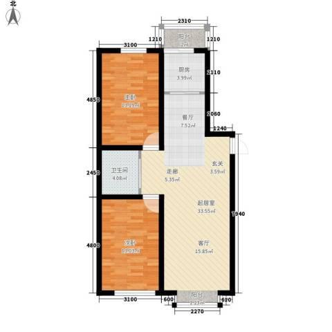 大众花园四期2室0厅1卫1厨77.00㎡户型图