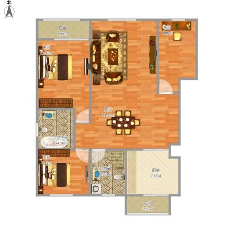 北岸龙庭3室1厅2卫1厨113.00㎡户型图