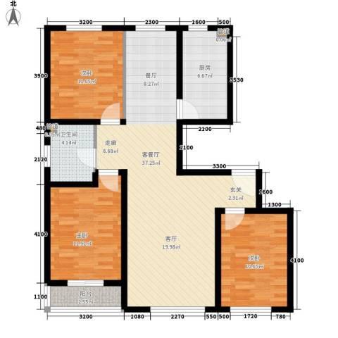 南环公寓3室1厅1卫1厨102.00㎡户型图