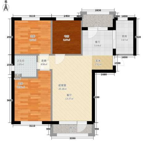 富虹太子城3室0厅1卫1厨89.00㎡户型图
