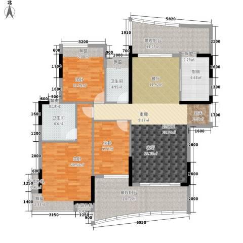 雅居乐国际花园3室0厅2卫1厨126.70㎡户型图