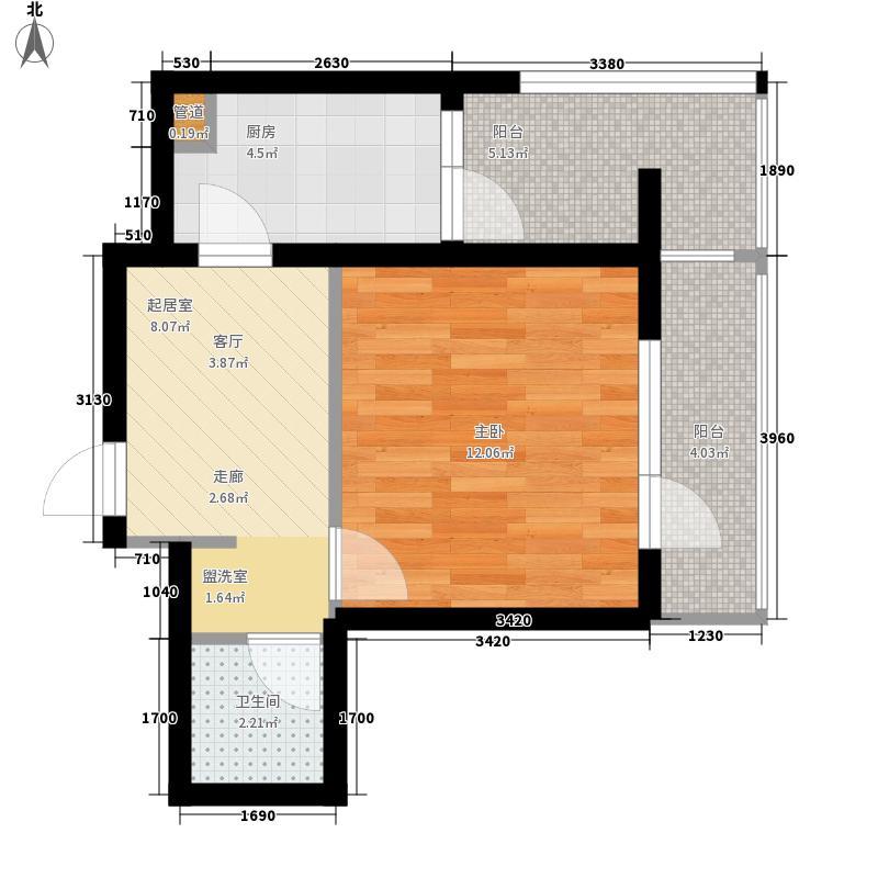 海伦堡41.00㎡A座E户型1室1厅