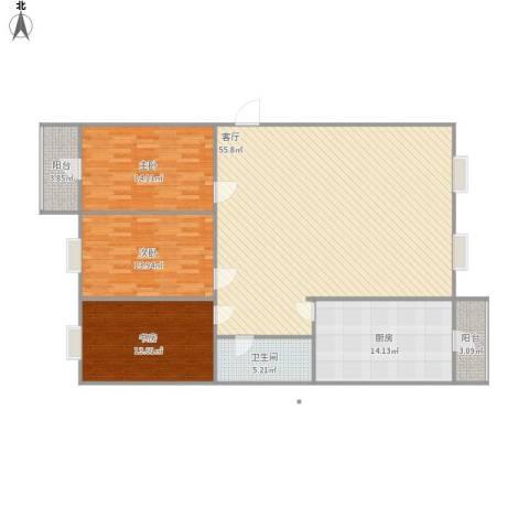 凯瑞国际3室1厅1卫1厨164.00㎡户型图