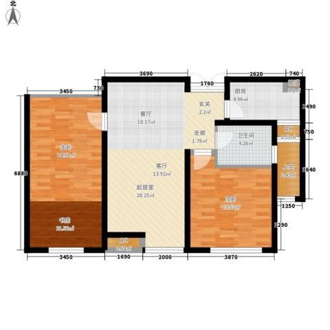 力宝翡翠花园2室0厅1卫1厨85.00㎡户型图