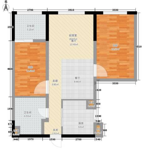 万科双子座2室0厅2卫1厨86.00㎡户型图