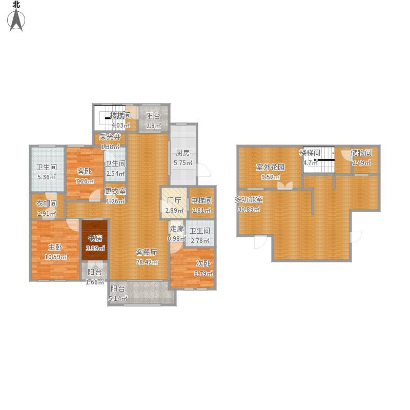 御钟山花园C5户型四房两厅三卫