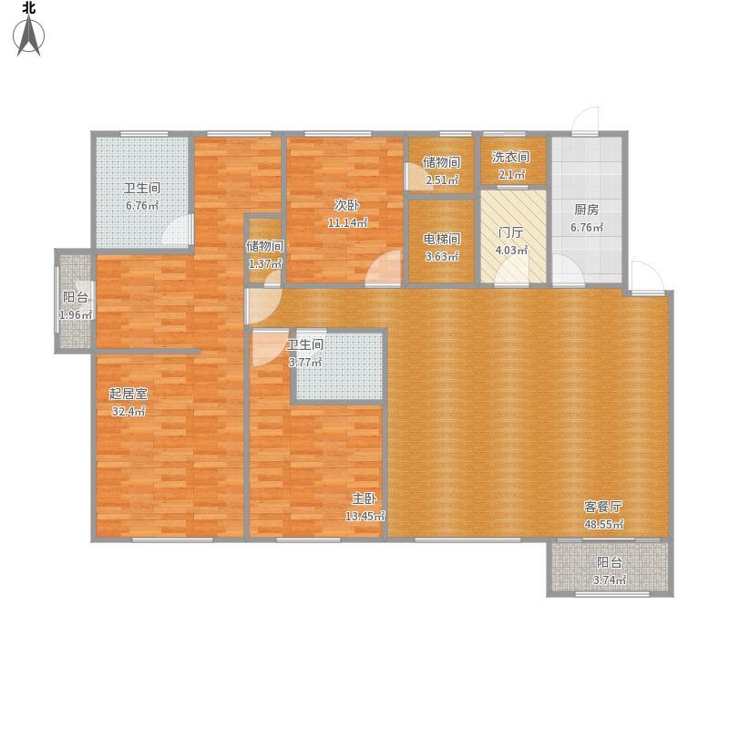 御钟山花园220方B9户型四房两厅两卫