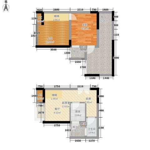 金辉融侨半岛香弥山2号1室0厅1卫1厨54.10㎡户型图