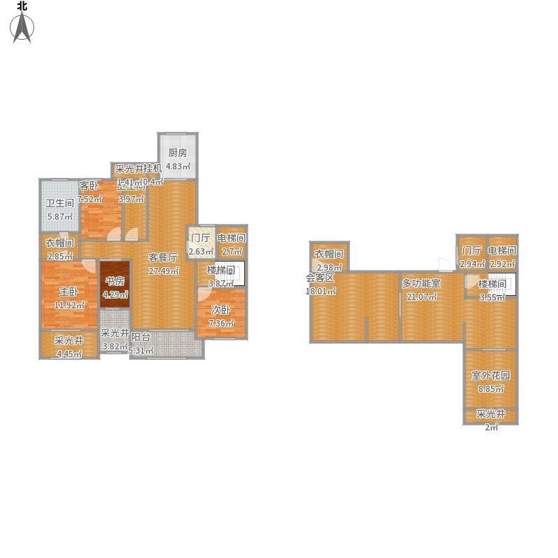 御钟山花园C2户型四房两厅两卫