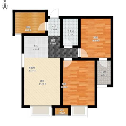 中环广场2室1厅1卫1厨88.00㎡户型图