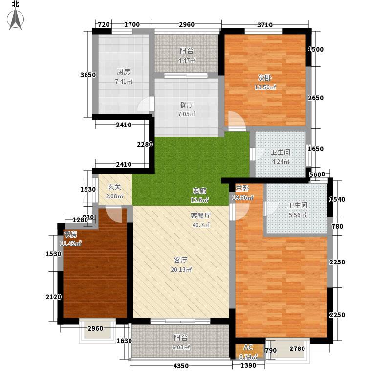 天澜湾127.59㎡33#楼标准层中间B户型