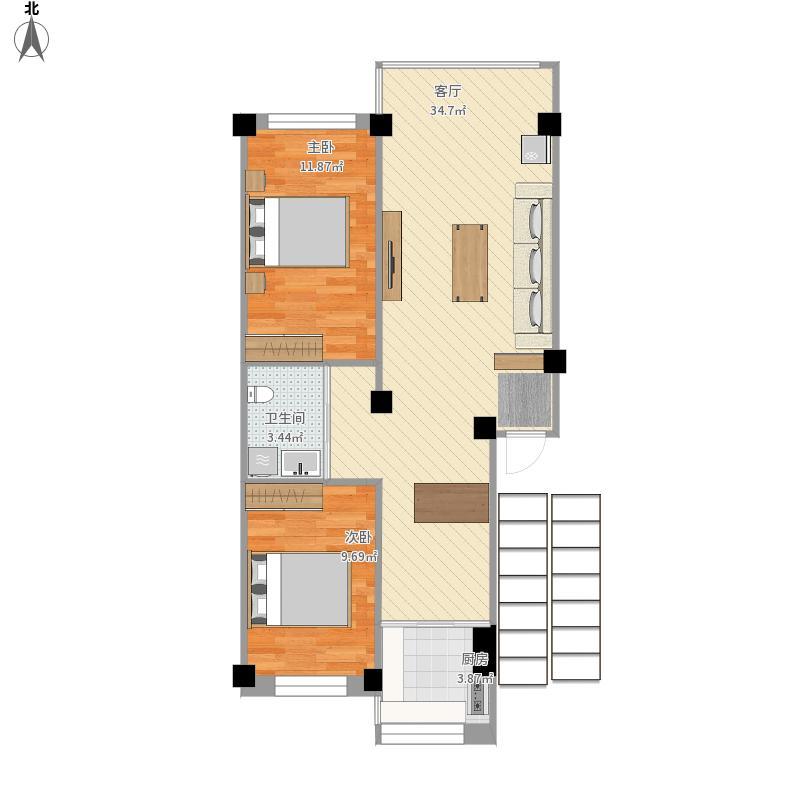 使用面积80两室两厅