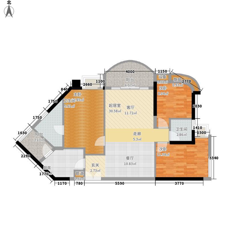 翠城花园111.10㎡16栋07单元4室面积11110m户型