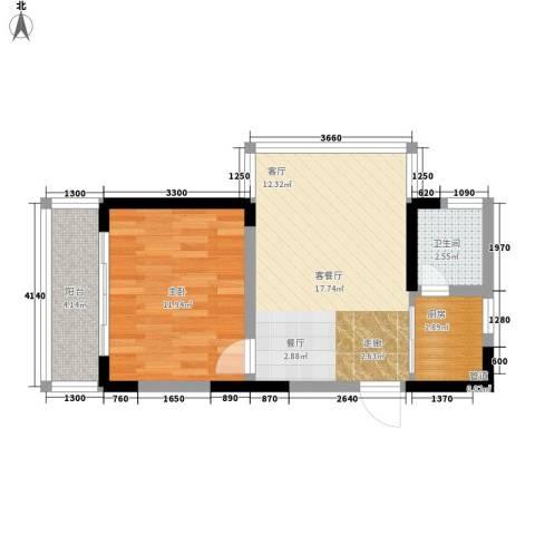 百康年世纪门1室1厅1卫1厨39.28㎡户型图