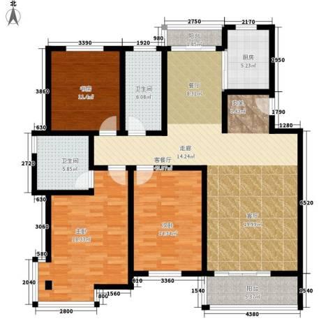 三景花园3室1厅2卫1厨129.00㎡户型图