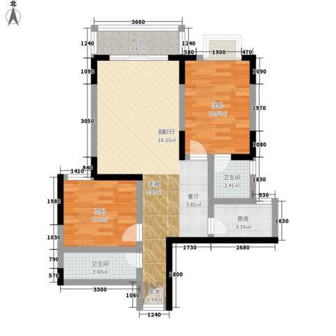 百康年世纪门2室1厅2卫1厨69.00㎡户型图
