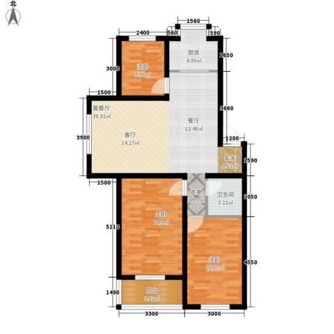 圣煜陆加壹3室1厅1卫1厨107.00㎡户型图