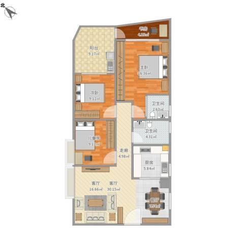 钰海名门4室1厅2卫1厨124.00㎡户型图