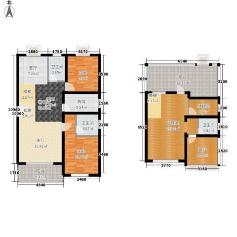 嘉恒・格林恬园2室1厅3卫1厨197.00㎡户型图