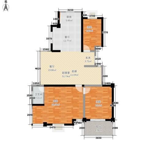 银河景苑3室0厅1卫0厨128.25㎡户型图