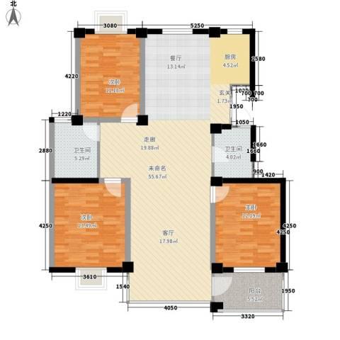 银河景苑3室0厅2卫0厨120.13㎡户型图