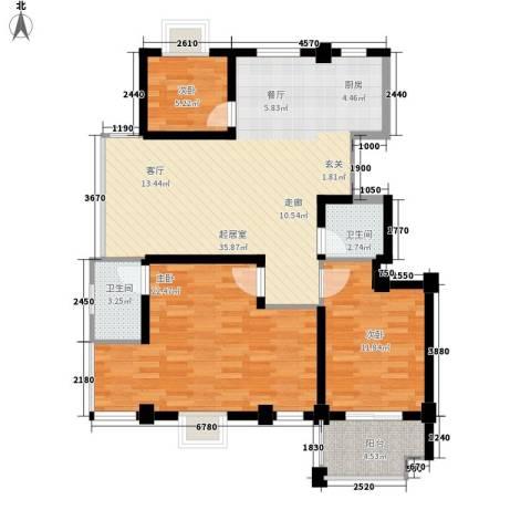 银河景苑3室0厅2卫0厨96.87㎡户型图