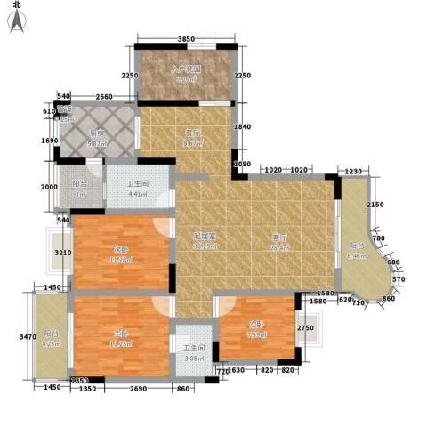 伴山名都3室0厅2卫1厨120.00㎡户型图