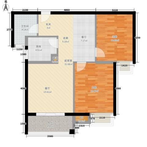 金桥澎湖湾2室0厅1卫1厨80.00㎡户型图