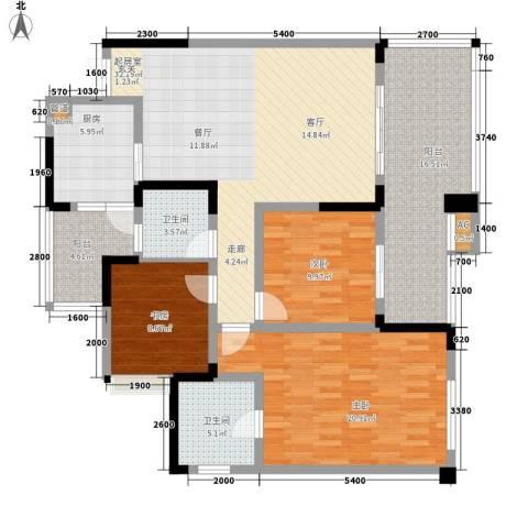 邦兴佳苑3室0厅2卫1厨117.00㎡户型图
