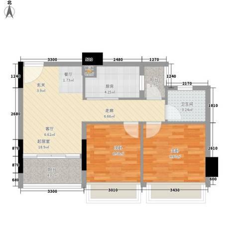 金茂精英现代城2室0厅1卫1厨73.00㎡户型图
