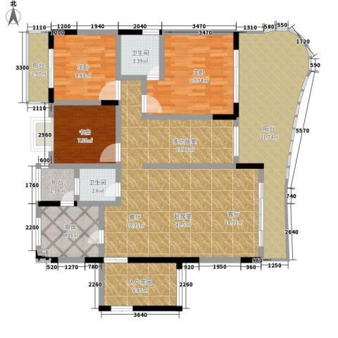 伴山名都3室0厅2卫1厨136.00㎡户型图