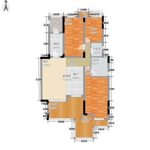 泽科港城国际锦云香缇3室0厅2卫1厨125.00㎡户型图