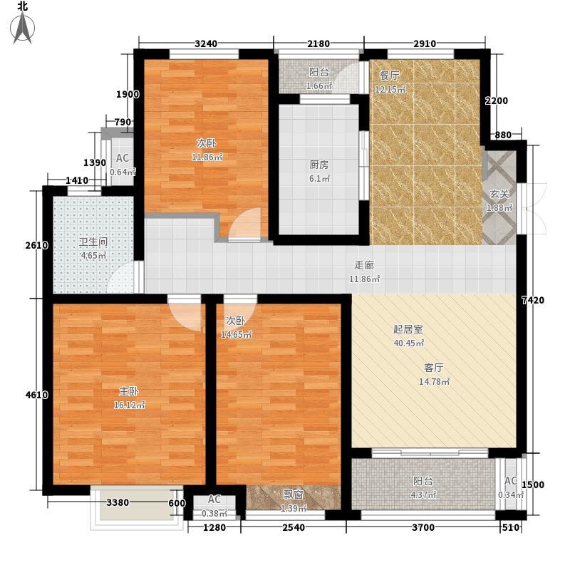 绿地镜湖世纪城116.82㎡一期高层10#、13#楼E5户型