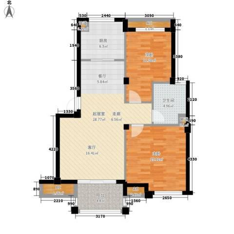 南岸花园东区2室0厅1卫1厨86.00㎡户型图