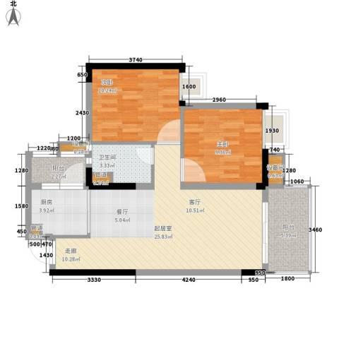 南沙碧桂园豪庭2室0厅1卫1厨71.00㎡户型图