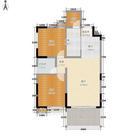 欣宇都市港湾2室1厅1卫1厨76.00㎡户型图