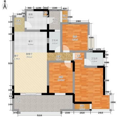 书香美舍3室1厅2卫1厨102.89㎡户型图