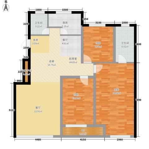 金域明珠3室0厅2卫1厨155.00㎡户型图