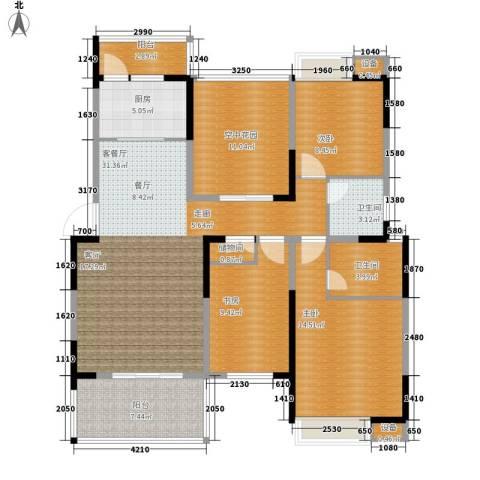 欣宇都市港湾3室1厅2卫1厨118.00㎡户型图