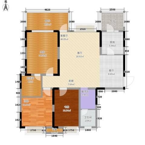 欣宇都市港湾3室1厅2卫1厨121.00㎡户型图