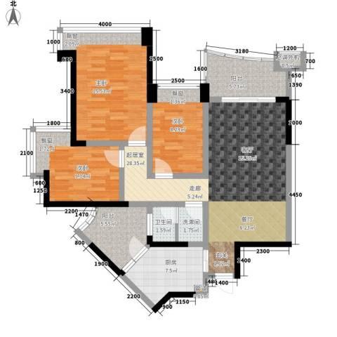 雅居乐国际花园3室0厅1卫1厨84.18㎡户型图
