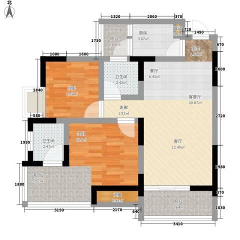 书香美舍2室1厅2卫1厨66.00㎡户型图