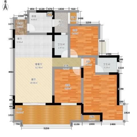 书香美舍3室1厅2卫1厨102.00㎡户型图