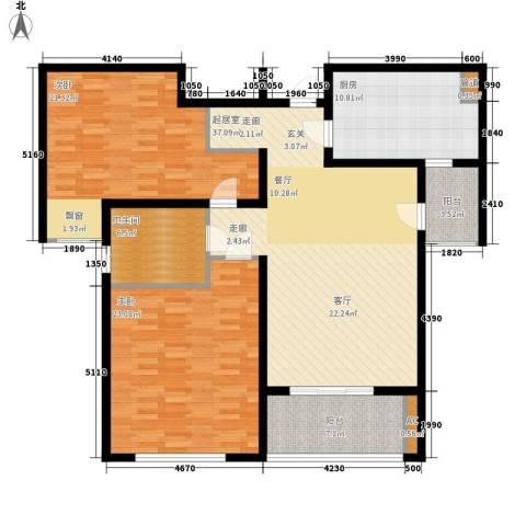 新地国际公寓二期2室0厅1卫1厨124.00㎡户型图